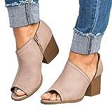Minetom Sandalias Mujer Verano Casual Gamuza Sintética Sandalias Gruesas de Punta Abierta y Tacón Cuadrado con Tira Al Tobillo Zapatos Caqui EU 38
