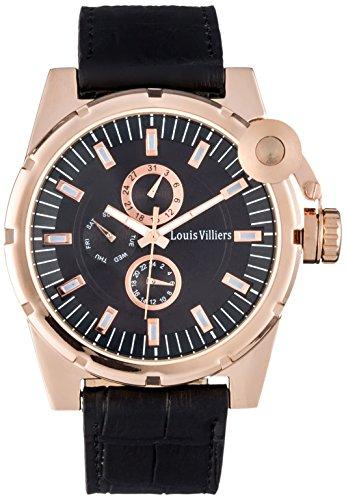 Louis Villiers LVAG3733-2 - Reloj de pulsera hombre, piel, color negro