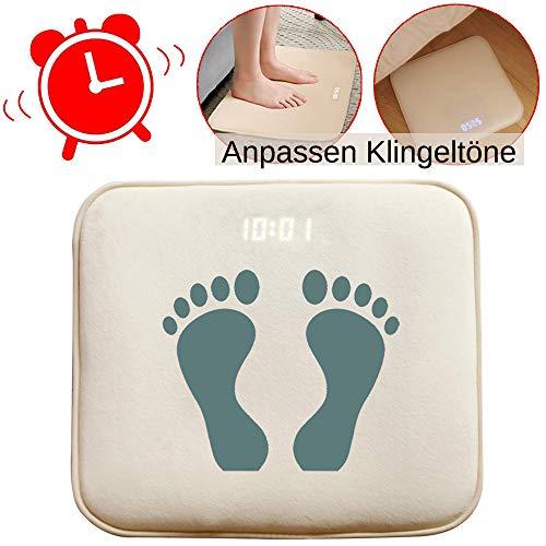 Smart Alarm Digitaler Wecker Bettvorleger Fußmatte Teppich Läufer mit LED Display und individuelle Töne mit USB einfach aufstehen