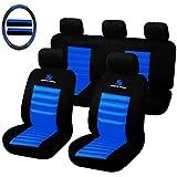 SITU SCSC0017 Auto Schonbezug, 12 teillige Sitzbezüge mit Lenkradbezug und Gurtpolster für Auto, universal, schwarz-blau