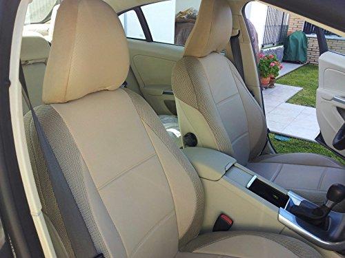 1+ 1in ecopelle (centro) & sintetico (pagine) anteriori due auto coprisedili su misura (si adatta a Volvo SUV XC60& XC902007-2014sedili, Beige)