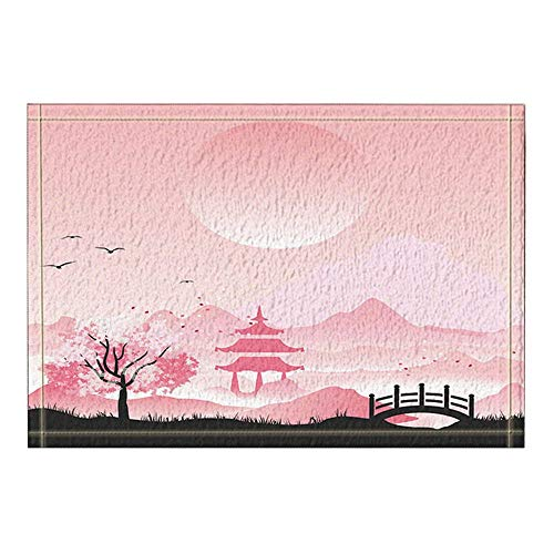 Bain Avec Intérieure Entrées Porte Paillasson Fleurs Extérieures Vecteur Mont Dérapant Étage Gzhq Décor Anti Japonais Fuji Tapis Cerisier uZiOPXk