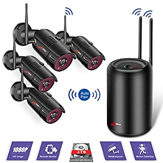 Wireless CCTV Security Camera System, Wireless Security Camera Systems with 4Pcs 2.0MP Outdoor HD 1080P Camera, Night vision, Easy Remote View, Motion Detection,1TB Hard Drive SWINWAY