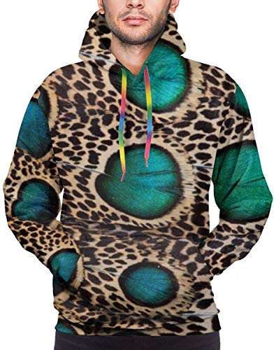 NA Teal Spotted Pheasant Feather Pullovers Hoodie Long Sleeve Hooded Athletic Hoodies Sweatshirts -