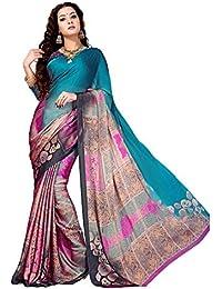 Ankit Fashions Printed Silk Chiffon Saree In Pink