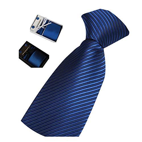 Männer Krawatte Business Set Hochzeit Krawatte Manschettenknöpfe Taschentuch und Krawatte Clip (Schwarz Box, 2)