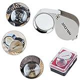 Etercycle, mini lente d'ingrandimento da gioielliere, tascabile, ingrandimento 30x, lente da 21mm (d), lente d'ngrandimento da gioielliere in vetro, colore: argento