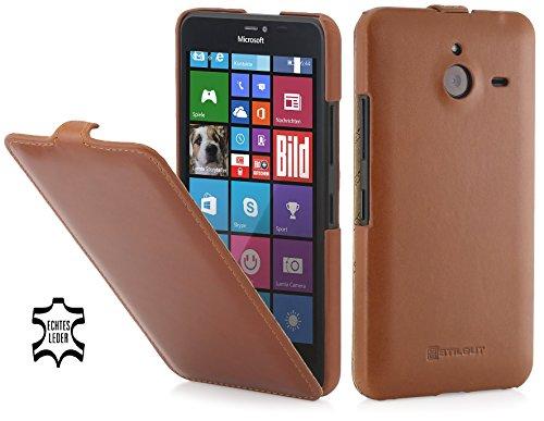 StilGut UltraSlim Case Funda de piel auténtica para el Microsoft Lumia 640 XL / 640 XL Dual SIM, Coñac