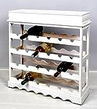 Scaffale vino/cantinetta per 24 bottiglie – stile casolare - legno - bianco
