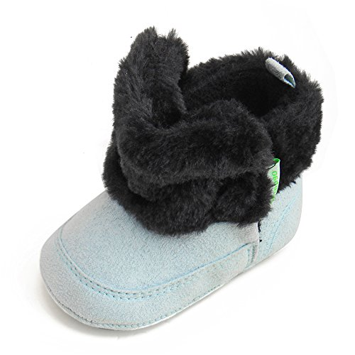 DELEBAO Babyschuhe Stiefel Baby Mädchen Schuhe Warme Weiche Sohle Schneeschuhe Boots (Schwarz&Blau,12-18 Monate)