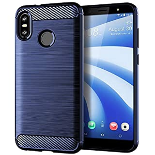 Aksuo for HTC U12 Life Brushed Texture Case Cover, TPU Anti-Fingerprint Flexible Shock Absorption Technology Raised Bezels Protective Cover (Blue)