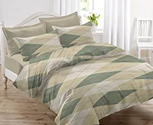 Ahmedabad Cotton Comfort 144 TC Cotton Double Bedsheet with 2 Pillow Covers - Beige and Green