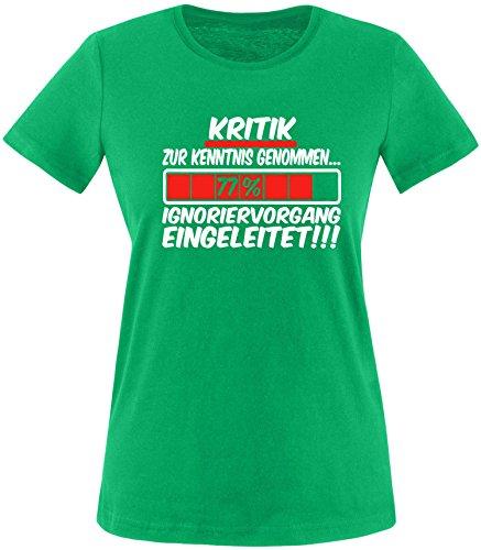 Luckja Kritik zur Kenntnis genommen... Ignoriervorgang eingeleitet Damen Rundhals T-Shirt Gruen/Weiss/Rot