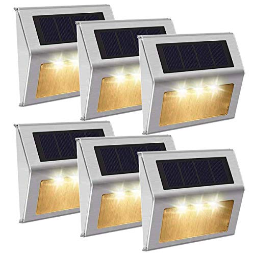 [Luz Cálido]Luces Solares 3 LED Exterior Jardin,Impermeable Acero Inoxidable Lámparas...