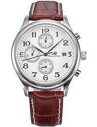 KS Herren Armbanduhr Automatikuhr Mechanische Braune Armband aus Leder Datumanzeige KS154