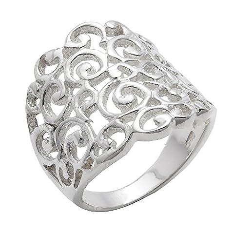 Silverly Frauen 925 Sterling Silber Breite Filigree gewundenes Muster Swirl 20mm Ring