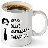Bears Beeten Battlestar Galactica Funny 11Oz Kaffeebecher–inspiriert durch die TV-Show im Büro Zitat–Einzigartiges Geburtstag Geschenk für Dwight Schrute Fans–Dunder Mifflin Weihnachtsgeschenk