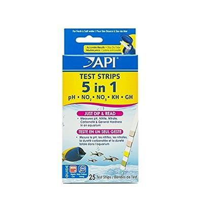 API 5en 1d'eau douce et d'eau de mer Aquarium Boîte de bandelettes de test
