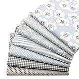 "7 Stück grau Fat Quarters Quilten Stoff Bundles, 46x56 cm Top Floral bedruckter Baumwolle Nähen Stoff zum Quilten Craftting, 18""x 22"""