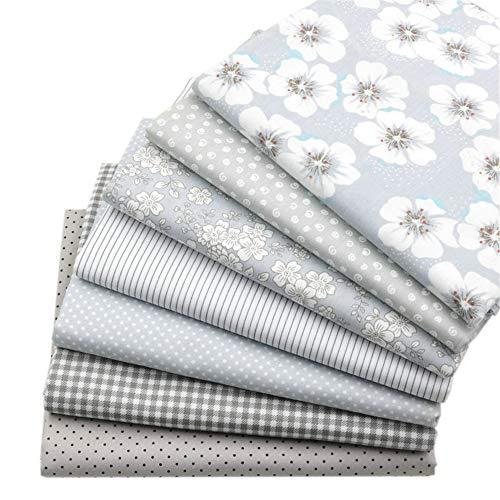 7 Stück grau Fat Quarters Quilten Stoff Bundles, 46x56 cm Top Floral bedruckter Baumwolle Nähen Stoff zum Quilten Craftting, 18