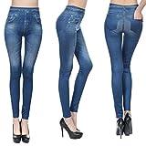 LnLyin Damen Leggings Damen Nahtlose Leggings Hose Tasche Echte Kaschmir Nachahmung Jeans Blau M