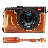 First2savvv XJPT-TYP109-D09S09 Gehäusehälfte präzise Passform PU-Leder Kameratasche Fall Tasche Cover für Leica D-LUX (Typ 109) mit Kameragurt