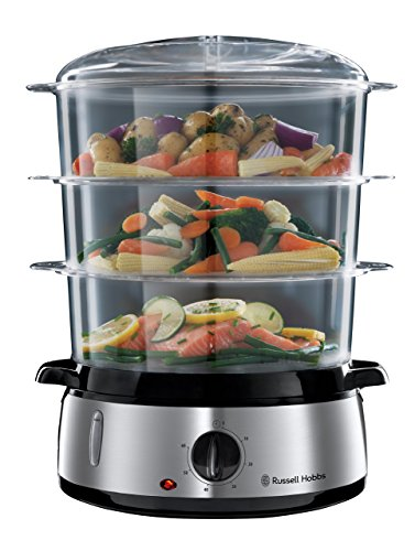 Russell Hobbs Cook@Home - Vaporera (800 W, Cocina Lenta, Sin BPA, Acero Inox, Capacidad para 9 litros,)
