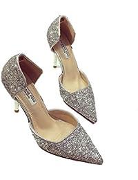 KNGMGK Zapatos De Cristal Bien con Tacones Altos Mujeres Zapatos Sueltos Vestidos Zapatos De Boda Zapatos De Banquete