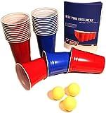 Red & Blue BeerCups Party Pack - Rote & Blaue Becher für Party & Beer Pong inkl. Bälle und Regelwerk (25 Rote & 25 Blaue Becher)