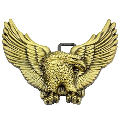 Q&Q Fashion Western Antik Gold 3D American fliegenden Big Eagle Rodeo Zuni Navajo Gürtelschnalle (Gürtelschnallen Native American)
