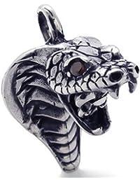 KONOV Joyería Collar con Colgante de hombre, Cadena 45-65cm, Serpiente Cobra Tribal Gótico Biker, Circonita, Acero inoxidable, Color negro plata (con bolsa de regalo)