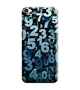 Gismo Vivo V5 Cover / Vivo V5 Back Cover / vivo v5 Designer Printed Back Case - Numeric Quote 3D Effect Blue