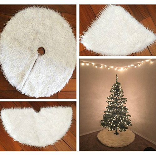 Gaddrt 78cm Christmas Plush Long Haired Christmas Tree Skirt Christmas Tree Skirt Decor