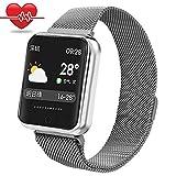 RanGuo - Reloj Inteligente para Hombres, Mujeres y niños, Deportes al aire libre impermeable Smart Watch para sistema Android y iOS, Apoyo recordatorio de llamada y recordatorio de mensaje (Plata)