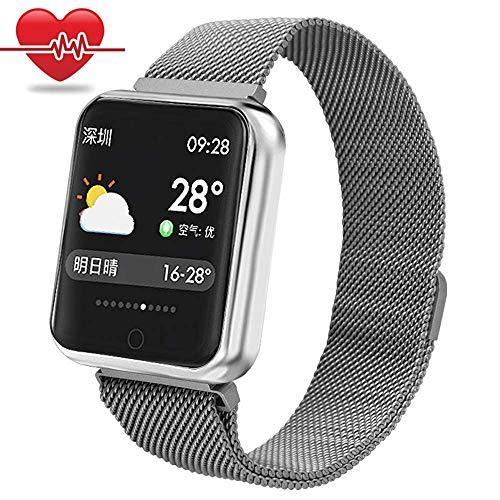 Sport Smart Armband,Miya wasserdicht Bluetooth Smartwatch intelligente Blutdruck Sport Uhr Herzfrequenz Armbanduhr Fitness Tracker Schrittzähler für iPhone Samsung Android-Silber