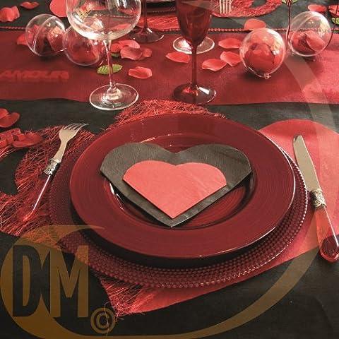 Discount-Tovaglioli da tavolo per matrimonio, a forma di cuore, da 20, colore: bianco