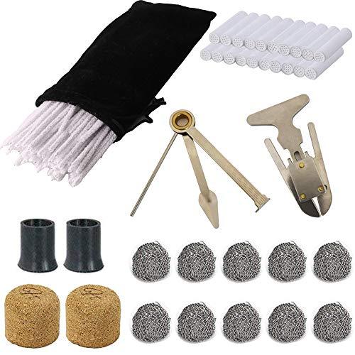 CESFONJER Kit de accesorios para tubos para fumar, empujadores de tubos 3 en 1, 80 limpiadores de tubos y 20 filtros de tubos, 2 tubos y 10 bolas de metal, 2 aldabas de corcho, accesorios para fumar