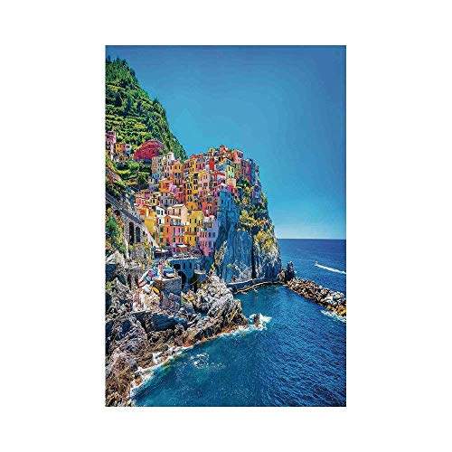 JKOVE Home Garden Wanderlust Decor Mediterranean Sea European Style Traditional Italian Design Cliff Coastline View Mountains or G Deko Süße Garten Flagge -
