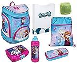 Familando Mädchen Schulrucksack-Set 7-tlg. Scooli Twixter Up Schulranzen Disney Die Eiskönigin Elsa und Anna mit Dose, Flasche und Regenschutz