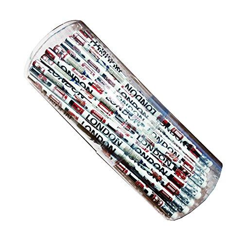 Fun Neuheit Bleistifte-72in einem praktischen Kunststoff Wanne Souvenir-Schule Klassenzimmer Student Crayon/lapiz/Bleistift/Matita-mit Gummi/Radiergummi, weiß-Alles London-Big Ben/London Bus/Beefeater/Royal Guard/rot Post Box/rot Handy Box/ST PAUL 'S CATHEDRAL-# 1Bestseller - Wanne-geschenk-korb