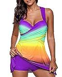 Damen Tankini Badeanzug Mit Röckchen Badekleid Mit Shorts Bademode Große Größen Swimsuit Violett M