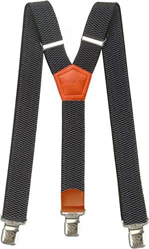 Tirantes Hombre Elásticos Ancho 40 mm con clips extra fuerte totalmente adjustable todos los colores (Gris 2)