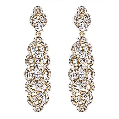EVER FAITH Mujer Pendientes Forma irregular con Rhinestones Diseño elegante para novia boda Oro