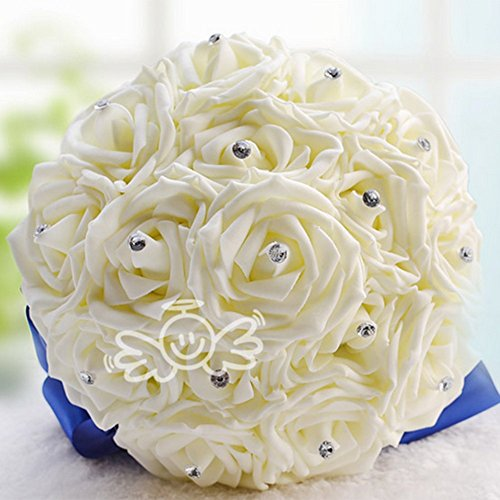 Weiße Hochzeits Blume, Brautbrautjungfern Blumenstrauß, Handgemachte Rosen Rhinestone Perlen Künstliche Schaum Blume Mit Satin