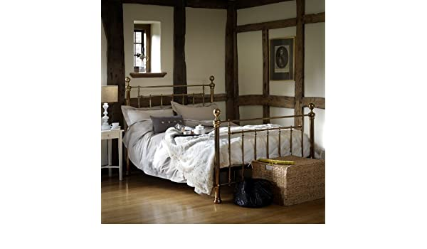 0226e6cecd96 feather   black Henley Double Bed Brass Finish Double Bedstead with Birch  Sprung Slatted Base