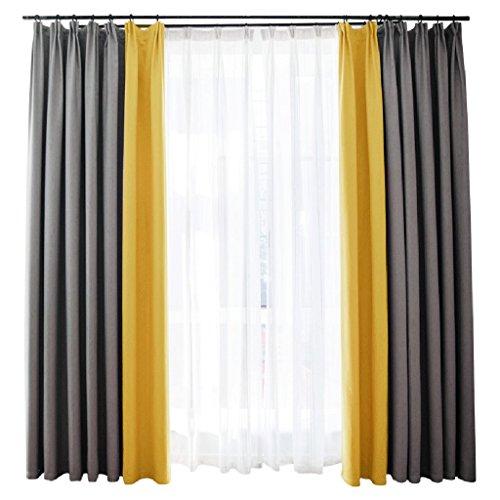 Nclon due colori giuntura le tende tenda per finestra,cotone canapa oscuranti oscurante opaco camera da letto soggiorno le tende tenda per finestra cravatta-grigio + giallo 1 pannello w300cm*d270cm