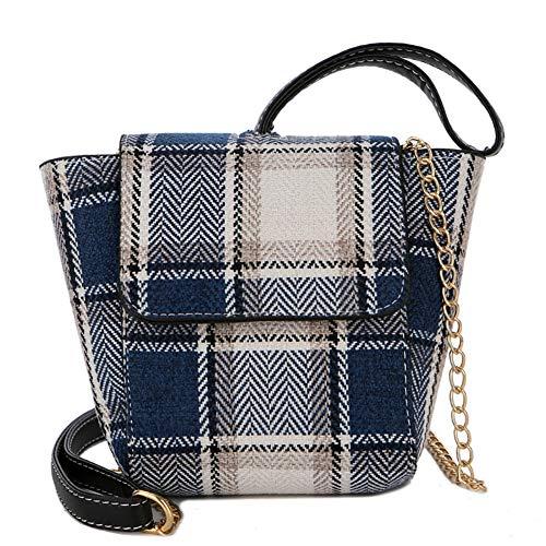 Verstellbare gestreifte Leinwand PU Crossbody Schultertasche Tassel Double Reißverschluss Messenger Bag Handtasche (blau) - Gestreifte Leinwand
