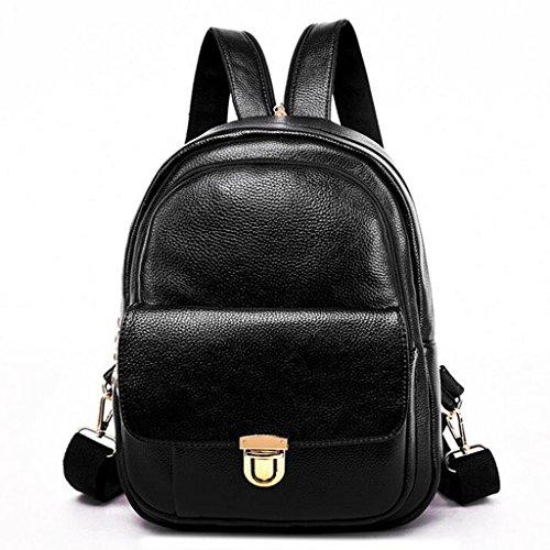 Y&F Rucksack Ledertasche Weiche Handtasche Schultertaschen 25 * 15 * 33 Cm Black