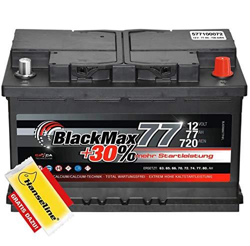 Autobatterie 12V 77Ah BlackMax 30{6a3f6796499ace0bacc93e19325b89d65f73d75dc3e2f4661f9b28c0408fb259} mehr Leistung statt 72Ah 74Ah 75Ah inklusive Polfett