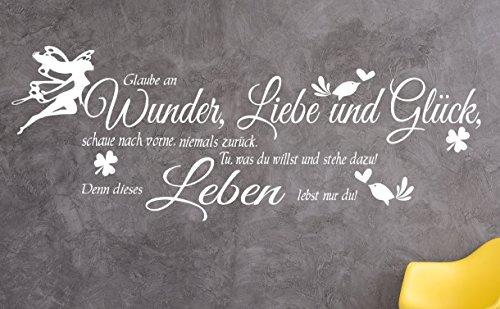 GR Pk132a Wandtattoo Wohnzimmer Wandtatoo Glaube An Wunder Liebe Glück Flur  Wandspruch (B100 X H34 Cm)